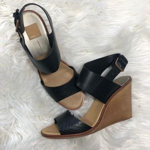 Dolce Vita Black Ankle Strap Open Toe Wedges